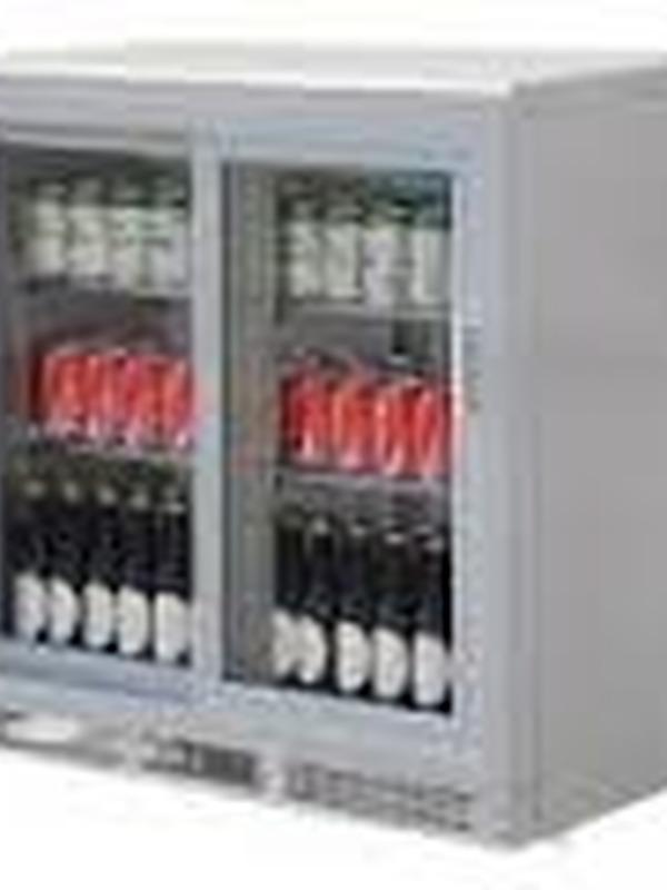 BAR koeling Zilver 180 flessen dubbel/schuifdeuren