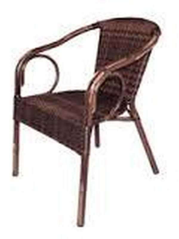 Kunststof Rotan stoel met armleuning/ Bruin (4)