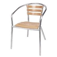Aluminium/Essenhout stoel (set van 4)