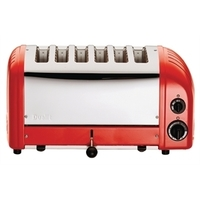 Broodrooster Dualit/Rood, 6 sleuven